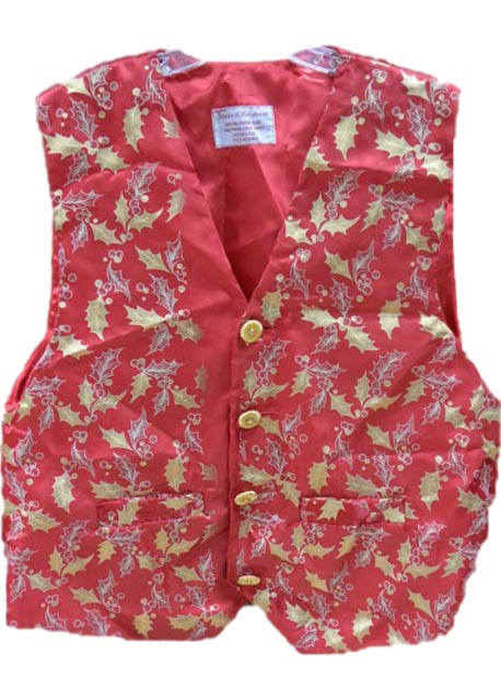Professional santa claus vest gold holly